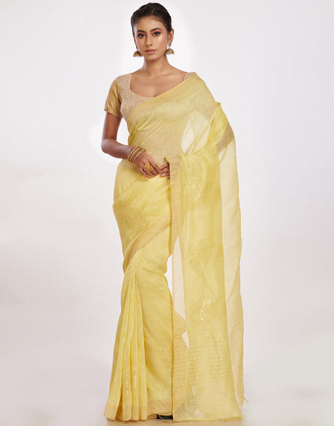 Cotton Linen Saree With Embroidery
