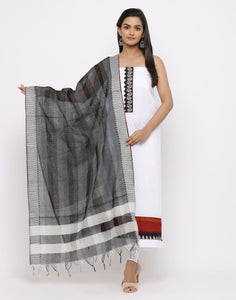 MBZ Meena Bazaar-Embroidered Cotton Suit Set with with Kantha Dupatta