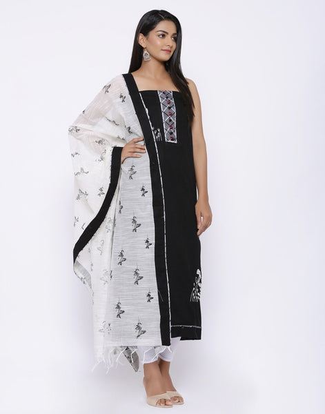 Embroidered Cotton Chanderi Suit Set with Printed Dupatta