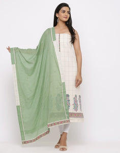 MBZ Meena Bazaar-Handloom Cotton Suit Set with Embroidered Dupatta