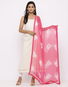 MBZ Meena Bazaar-Embroidered Khadi Suit Set with Chiffon Batic Printed Dupatta