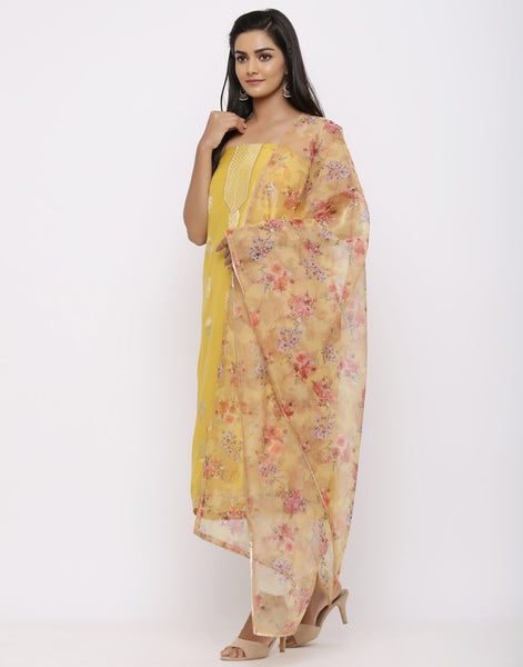 Embroidered Chanderi Suit Set with Organza Printed Dupatta