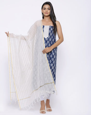 Embroidered Cotton Suit Set with kantha Dupatta