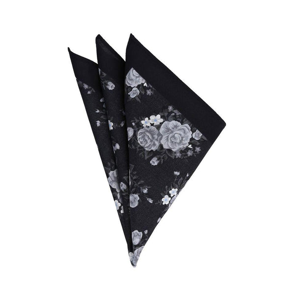 Pañuelo Royal Flush negro con flores color gris