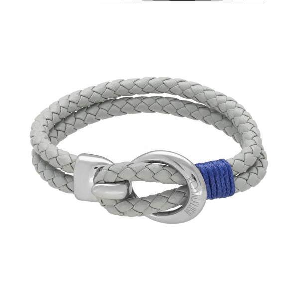 Pulsera Royal Flush doble de piel gris