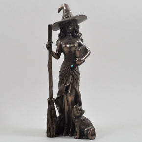 Fiesta Studio Bronze Witch with Broom & Cat