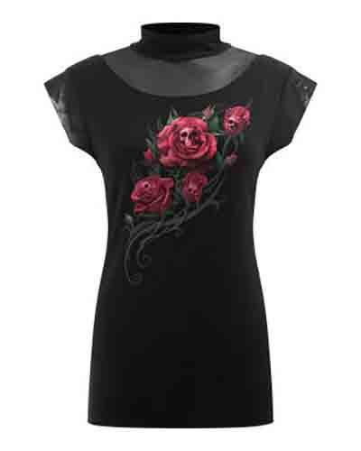 Spiral Direct Spiral DEATH ROSE Ladys Turtle Neck Top