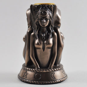 Spirit Earth 3 Witch Candle Holder - Bronze