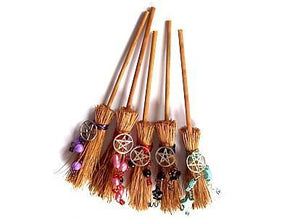 Spirit Earth Besoms Hedgewitch Broomstick for Luck & Protection with Pentacle