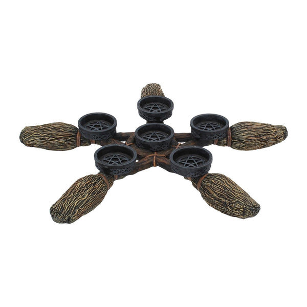 Spirit Earth Broomstick Pentagram Tea Light Holder