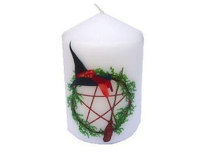 Spirit Earth Candle Pentagram Witches Hat & Broom Candle 8cm