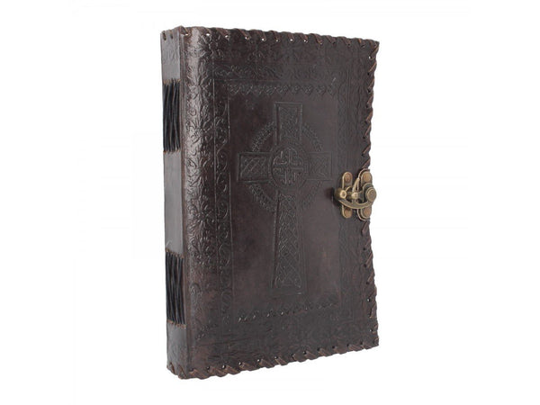Spirit Earth Celtic Cross Leather Journal - Lock