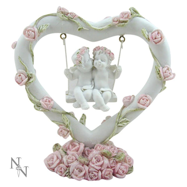 Spirit Earth cherubs Pink Rose Heart Swing