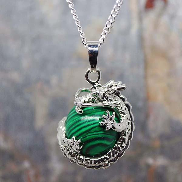 Spirit Earth Dragon with Malachite Necklace