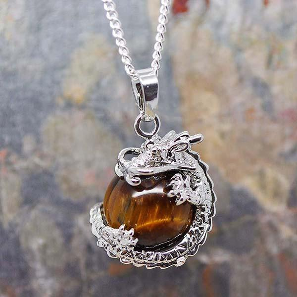 Spirit Earth Dragon with Tigers eye Necklace
