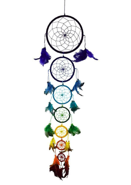 Spirit Earth Dream Catcher 7 Circles with Feathers
