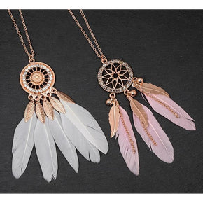 Spirit Earth Dreamcatcher Feather Necklace