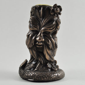 Spirit Earth Greenman Candle Holder - Bronze