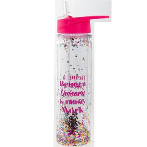 Spirit Earth Gym Glitter Water Bottle Unicorn