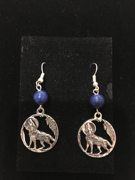 Spirit Earth Howling Wolf Earings