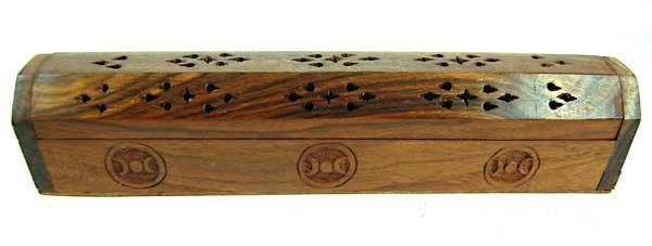 Spirit Earth Incense Box Wood Triple Moon