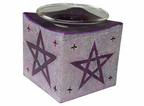Spirit Earth Soapstone Pentagram Oil Burner - Purple