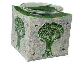 Spirit Earth Soapstone Tree of Life Oil Burner - Green