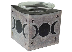 Spirit Earth Soapstone Triple Moon Oil Burner - Black