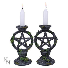 Spirit Earth Wiccan Pentagram Candle Sticks (Set of 2)