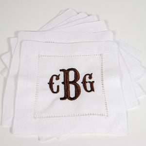 4 Piece Monogram Linen Cocktail Napkins