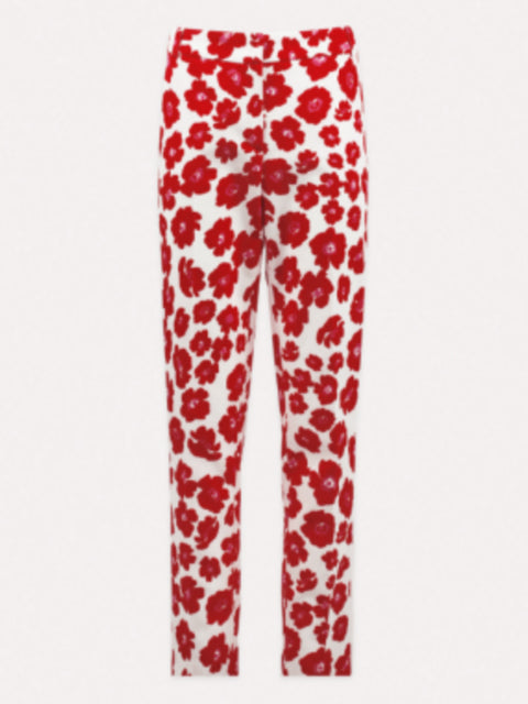 OFELIA FLORAL COTTON STRAIGHT LEG PANTS