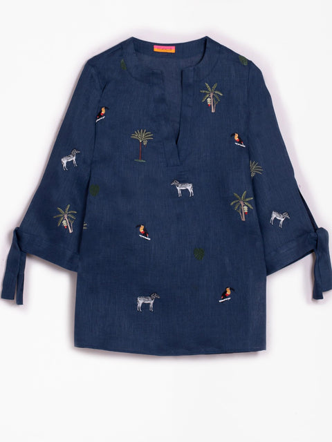Monogram Goods NAVY ABBY EMBROIDERED BLOUSE