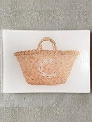 Straw Tote GLASS TRINKET TRAY