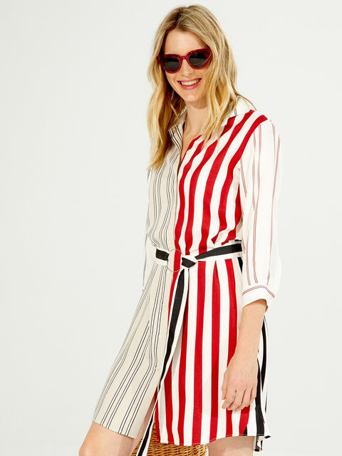DOVER RED STRIPE BUTTON DOWN DRESS
