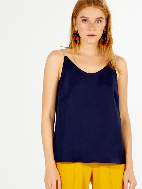 GINA TANK, NAVY KNIT