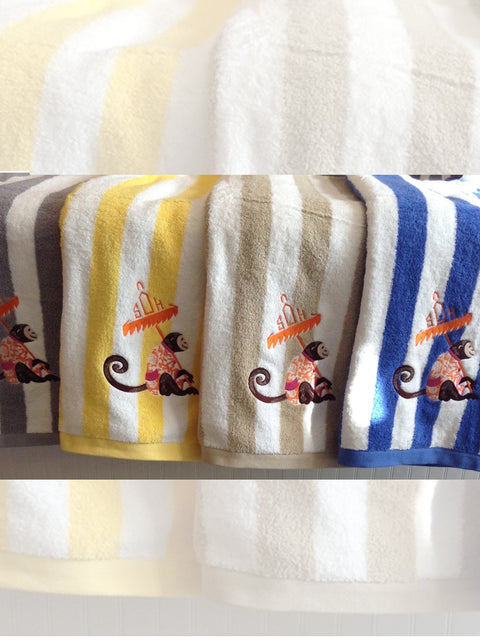 Plush Striped Beach Towel