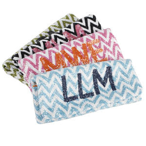 White Chevron Bead Clutch