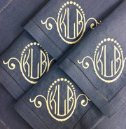 4 Piece Monogram Festival Dinner Napkin Set, Cobalt