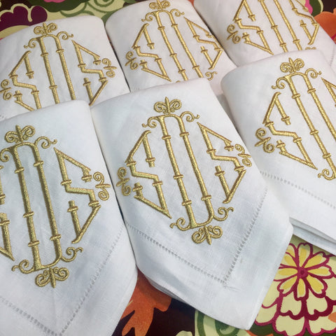 4 Piece Monogram Festival Dinner Napkin Set, Sea Mist