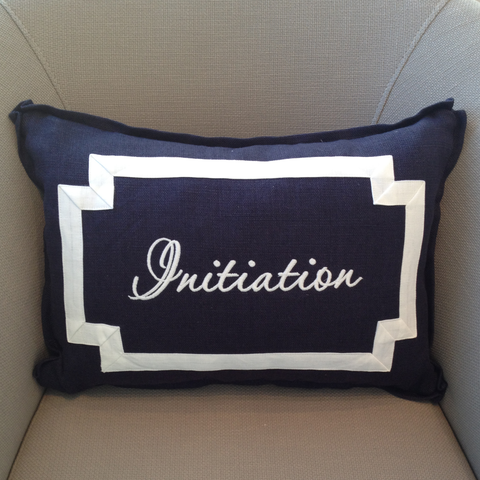 Avery Pillow Lumbar Monogram Goods  Navy