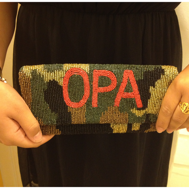 Camouflage Bead Clutch