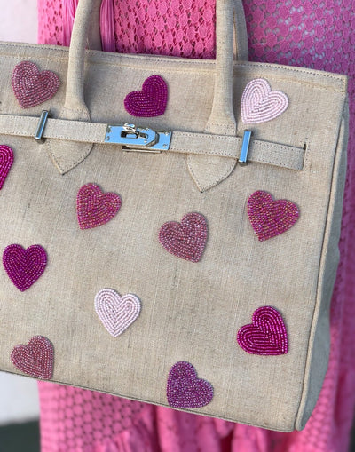 Bead Hearts Jute Purse