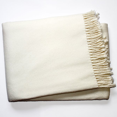 Spanish Fleece Fringe Throw, Ivory