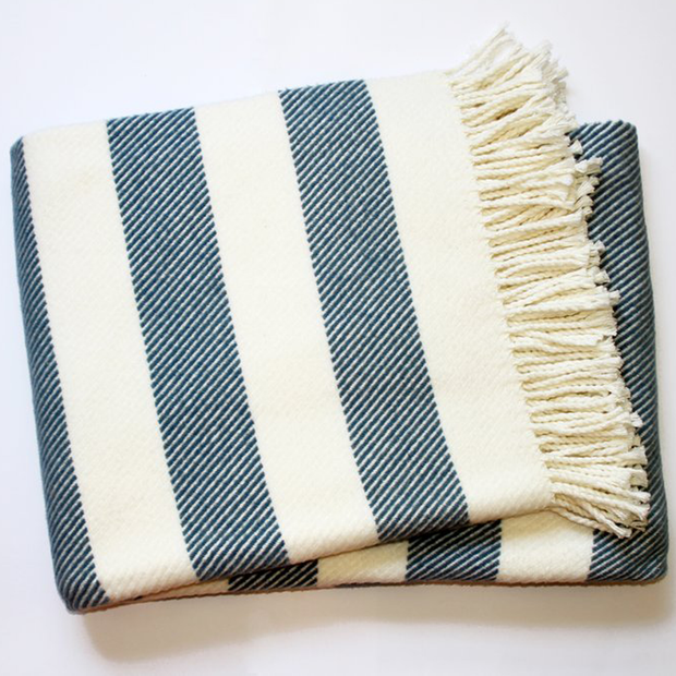 Spanish Striped Fleece Fringe Throw, Ivory/Slate