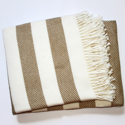 Spanish Striped Fleece Fringe Throw, Ivory/Stone