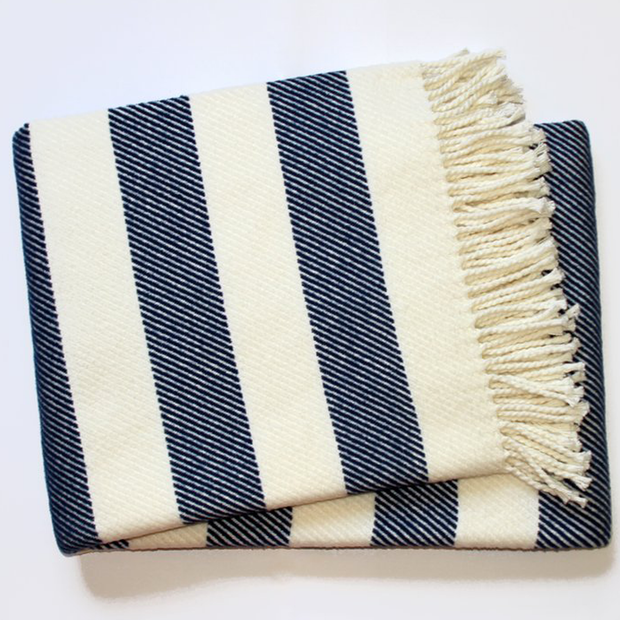Spanish Striped Fleece Fringe Throw, Ivory/Navy