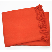 Spanish Fleece Fringe Throw, Orange