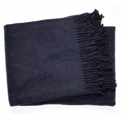 Spanish Fleece Throw Navy Monogram Goods