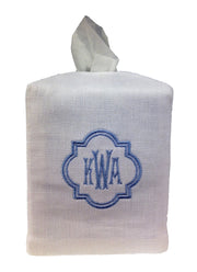Monogrammed Tissue Box Cover: Linen