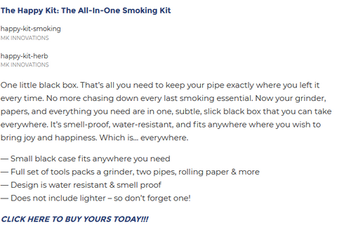 BroBible.com article on The Happy Kit - One little black box. That's all you need to keep your pipe exactly where you left it every time. No more chasing down every last smoking essential.